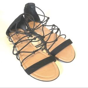 CL by Laundry Black Fisherman Sandals Flats 7.5W